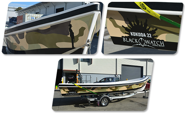 Kokoda 22ft Panga boat with Vinyl Wrap